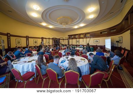 MOSCOW - APR 20, 2017: People listen lecture at practical business conference Second breath of real estate market in Moscow business club in Congress-park Volynskoe
