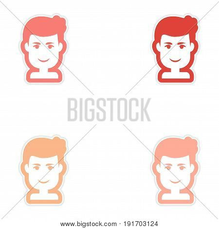 Set of paper stickers on white background men's haircut