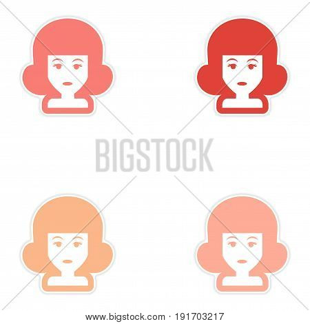 Set of paper stickers on white background women's hairstyles