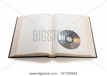 open book and compact disk concept of digital information.