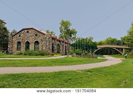 Historic Street Car Station And Footbridge At Como Park In St. Paul, Minnesota