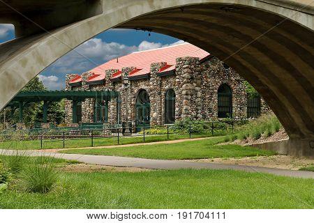 Historic Street Car Station Through Footbridge At Como Park In St. Paul, Minnesota