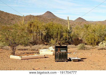 Garbage Dumped in the Sonoran Desert near Phoenix, Arizona