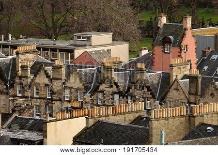 Aerial View Of Architecture In Edinburgh, Scotland