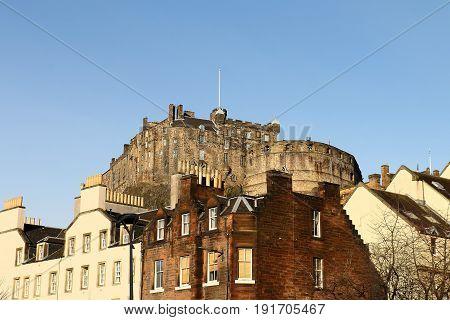 View Of Castle From Grassmarket Square In Edinburgh, Scotland