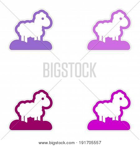 Set of paper stickers on white background Christmas lamb
