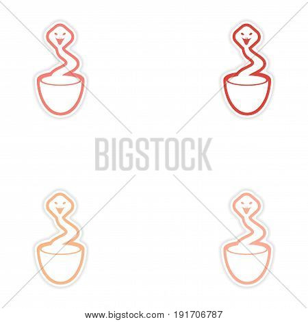 Set of stickers Indian cobra on white background