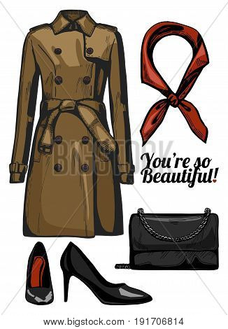 Vector illustration of women fashion clothes look set. Trench coat clutch bag black patent leather pointed pumps red silk scarf. Ink hand drawn style colored.