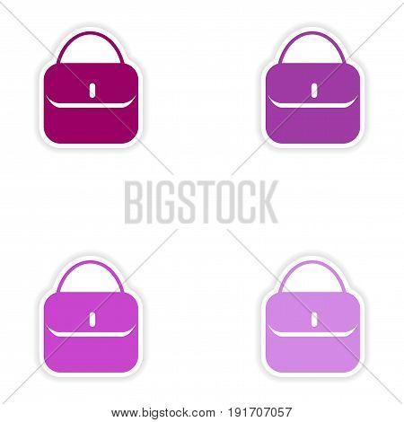 concept stylish paper sticker on white background ladies handbag