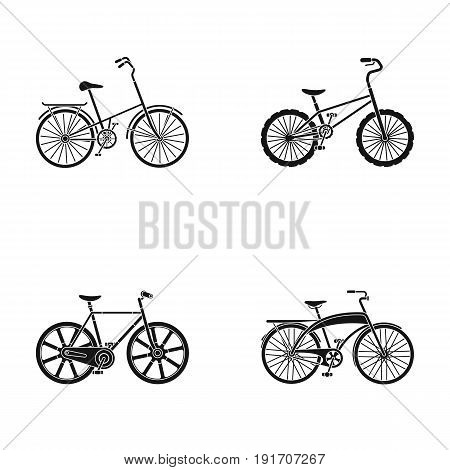 Children's bicycle and other kinds.Different bicycles set collection icons in black style vector symbol stock illustration .