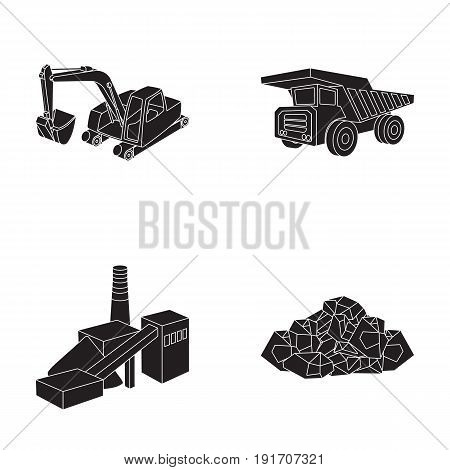Excavator, dumper, processing plant, minerals and ore.Mining industry set collection icons in black style vector symbol stock illustration .