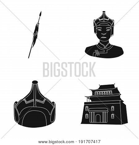 Military spear, Mongolian warrior, helmet, building.Mongolia set collection icons in black style vector symbol stock illustration .