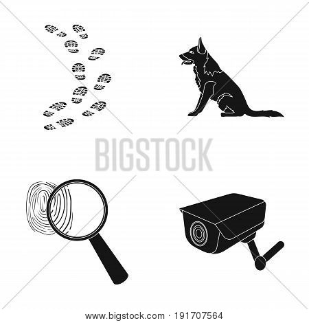 Traces on the ground, service shepherd, security camera, fingerprint. Prison set collection icons in black style vector symbol stock illustration .
