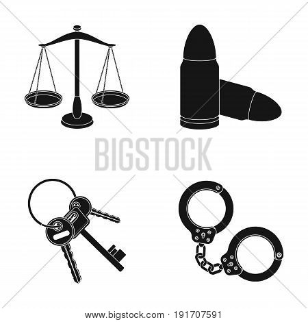 Scales of justice, cartridges, a bunch of keys, handcuffs.Prison set collection icons in black style vector symbol stock illustration.