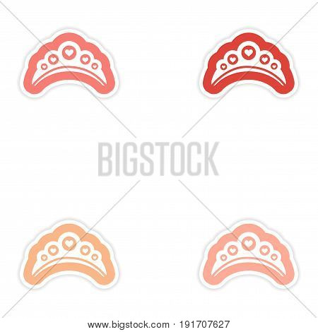 Set of paper stickers on white background diadem heart
