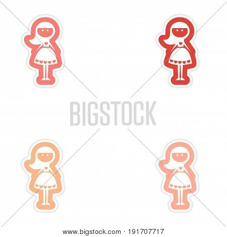 Set of paper stickers on white background friend bride