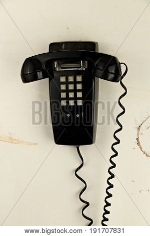 Retro Grungy Analog Phone on Old Paneling