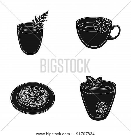 Carrot juice in a glass, chamomile tea in a cup, porridge on a plate, strawberry juice in a glass with a leaf. Vegetarian dishes set collection icons in black style vector symbol stock illustration .
