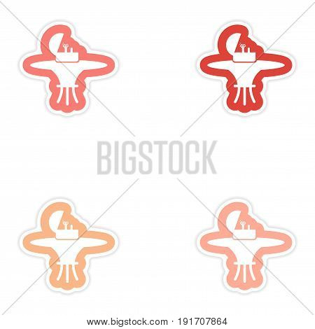 Set of paper stickers on white background Ring in box
