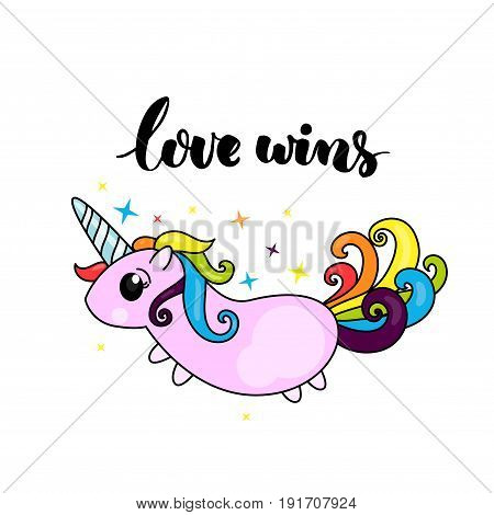 Love wins - lgbt pride slogan and cute unicorn character with rainbow hair