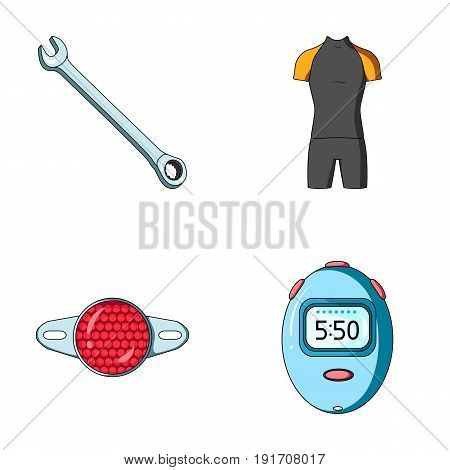 A wrench, a bicyclist's bone, a reflector, a timer.Cyclist outfit set collection icons in cartoon style vector symbol stock illustration .