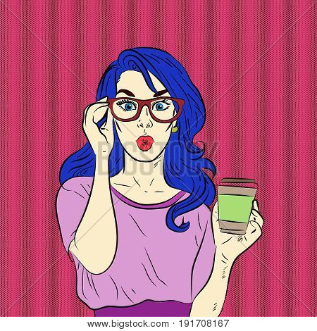 Pop art surprised blue hair woman face wearing eyeglasses holding hot coffee in her hand. Vector illustration.