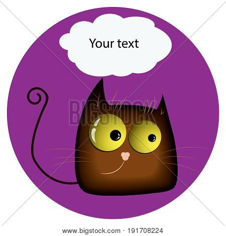 Funny cat.with yellow glowing realistic eyes and speech bubble on purple background. Vector illustration