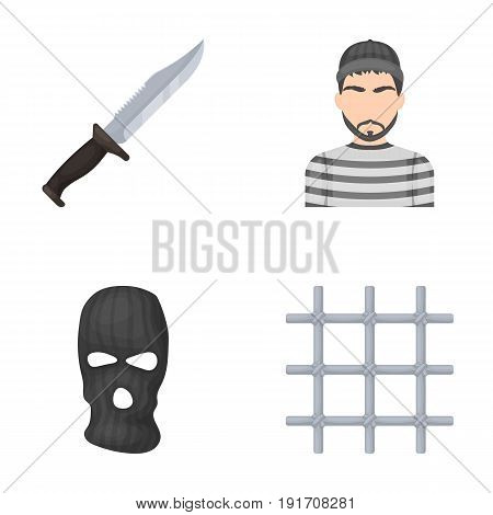 Knife, prisoner, mask on face, steel grille. Prison set collection icons in cartoon style vector symbol stock illustration .