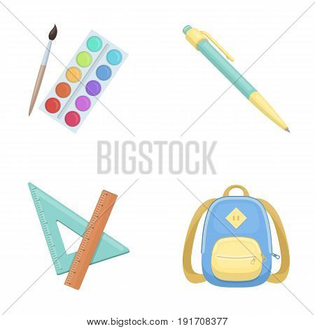Multicolored paints with a tassel, pen, triangle and ruler, satchel, briefcase. School and education set collection icons in cartoon style vector symbol stock illustration .