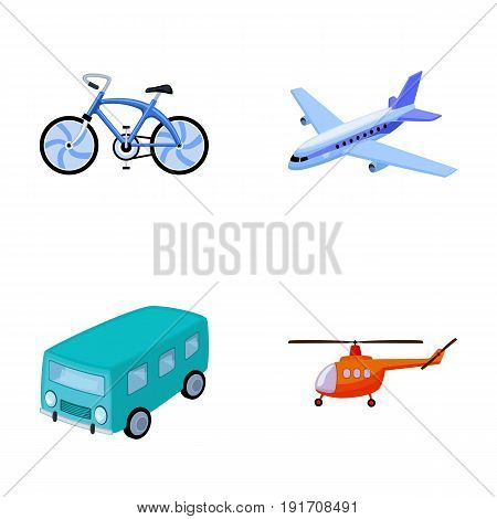 Bicycle, airplane, bus, helicopter types of transport. Transport set collection icons in cartoon style vector symbol stock illustration .