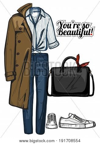 Vector illustration of women fashion clothes look set. Trench coat structured bag white knotted shirt denim jeans and sneakers. Ink hand drawn style colored.