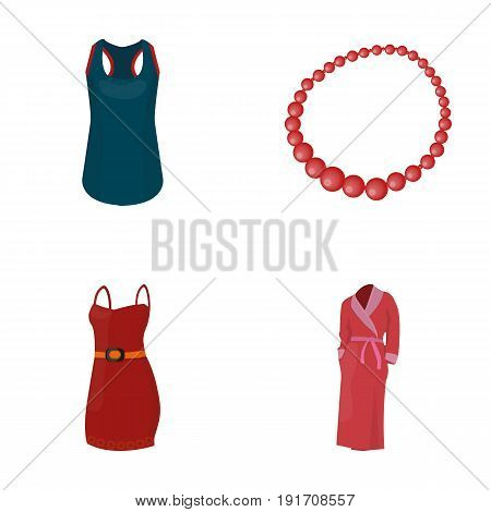 T-shirt, beads, summer women's sarafan on straps with a belt, a home gown. Women's clothing set collection icons in cartoon style vector symbol stock illustration .