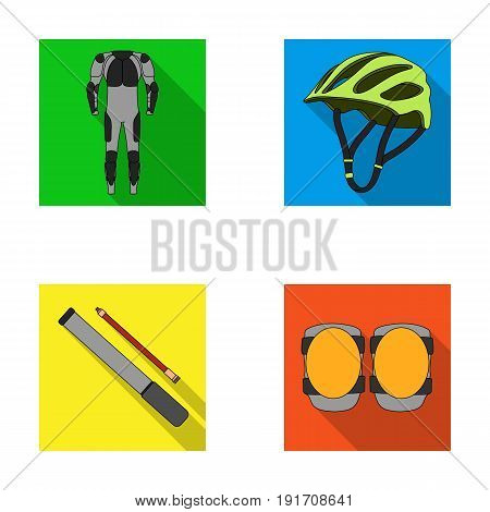 Full-body suit for the rider, helmet, pump with a hose, knee protectors.Cyclist outfit set collection icons in flat style vector symbol stock illustration .