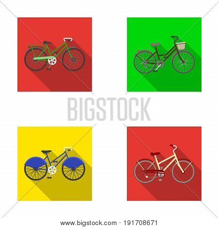 Sports bike and other types.Different bicycles set collection icons in flat style vector symbol stock illustration .