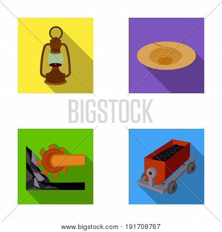 A miner's lamp, a funnel, a mining combine, a trolley with ore.Mining industry set collection icons in flat style vector symbol stock illustration .