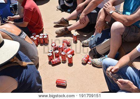 LE MANS FRANCE - JUNE 18 2017: Cuns of beer Kronenbourg during race 24 hours of Le mans