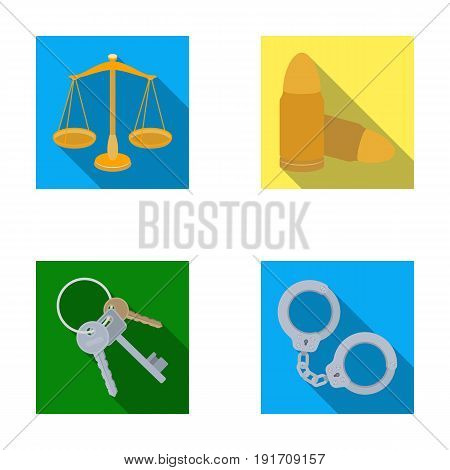Scales of justice, cartridges, a bunch of keys, handcuffs.Prison set collection icons in flat style vector symbol stock illustration.