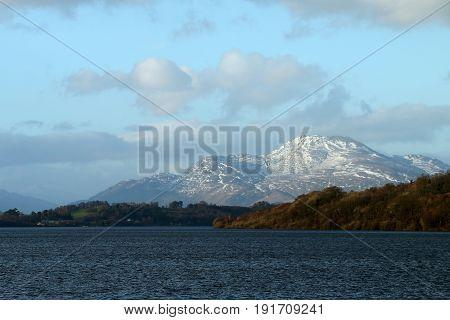 Ben Lomond Over Loch Lomond In Balloch, Scotland