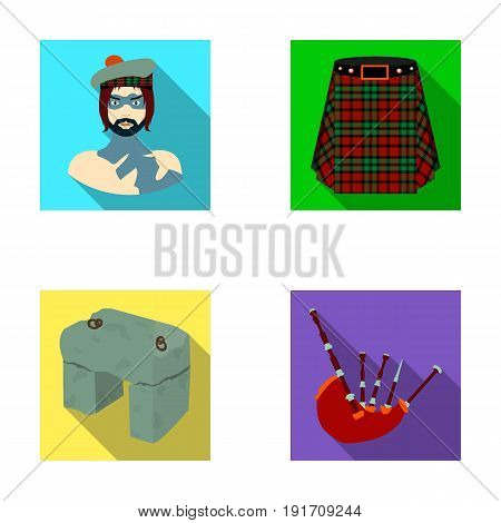 Highlander, Scottish Viking, tartan, kilt, scottish skirt, scone stone, national musical instrument of bagpipes. Scotland set collection icons in flat style vector symbol stock illustration .