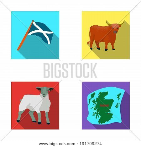 The state flag of Andreev, Scotland, the bull, the sheep, the map of Scotland. Scotland set collection icons in flat style vector symbol stock illustration .