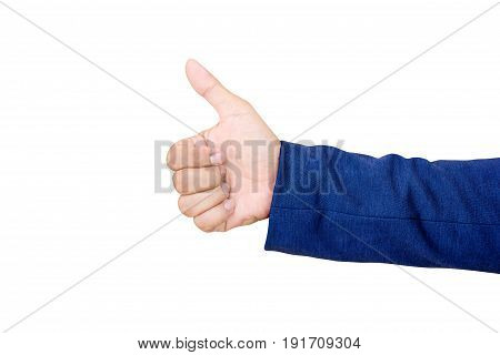 Businessman's hand with thumb up isolated on white background.