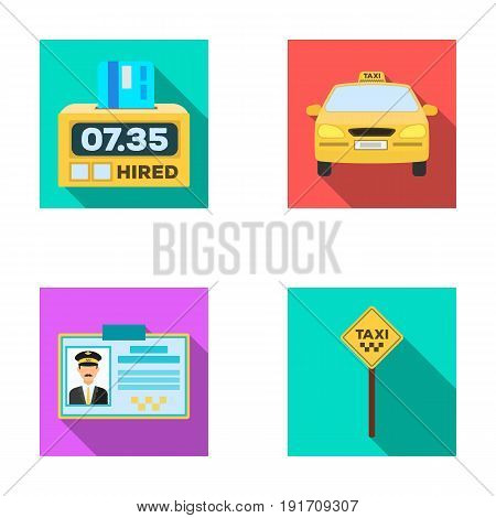 The counter of the fare in the taxi, the taxi car, the driver's badge, the parking lot of the car. Taxi set collection icons in flat style vector symbol stock illustration .