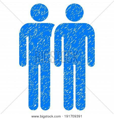 Grunge Gay Couple icon with grunge design and dust texture. Unclean vector blue pictogram for rubber seal stamp imitations and watermarks. Draft sticker gay couple symbol.