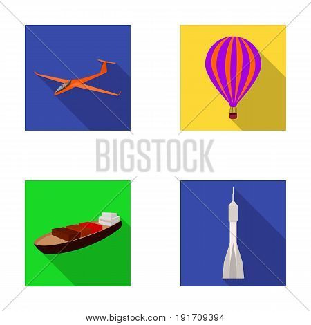 A drone, a glider, a balloon, a transportation barge, a space rocket transport modes. Transport set collection icons in flat style vector symbol stock illustration .
