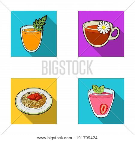 Carrot juice in a glass, chamomile tea in a cup, porridge on a plate, strawberry juice in a glass with a leaf. Vegetarian dishes set collection icons in flat style vector symbol stock illustration .