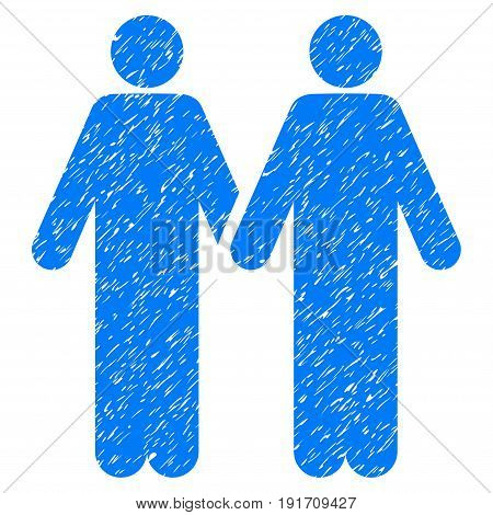 Grunge Gay Couple icon with grunge design and dirty texture. Unclean vector blue pictogram for rubber seal stamp imitations and watermarks. Draft sticker gay couple symbol.
