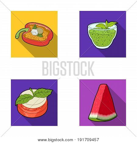 Sweet Bulgarian pepper, vitamin drink, jam with raspberry and mint leaves, a piece of watermelon. Vegetarian dishes set collection icons in flat style vector symbol stock illustration .