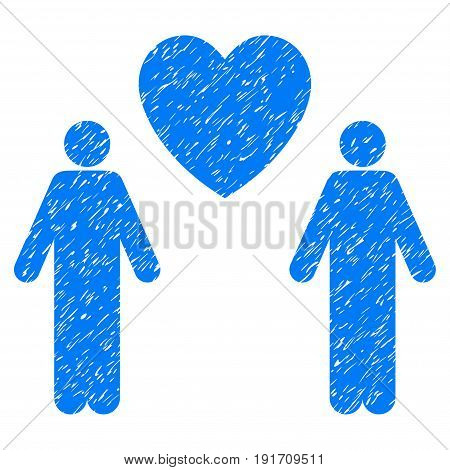 Grunge Gay Lovers icon with grunge design and dirty texture. Unclean vector blue pictogram for rubber seal stamp imitations and watermarks. Draft sticker gay lovers symbol.