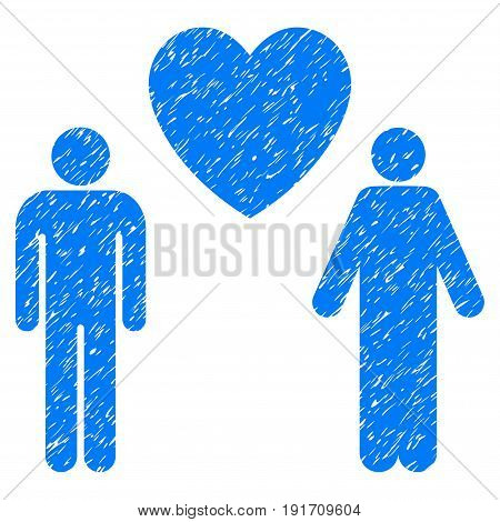 Grunge Gay Lovers icon with grunge design and unclean texture. Unclean vector blue pictogram for rubber seal stamp imitations and watermarks. Draft sign gay lovers symbol.