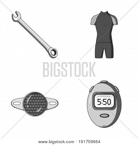 A wrench, a bicyclist's bone, a reflector, a timer.Cyclist outfit set collection icons in monochrome style vector symbol stock illustration .